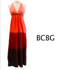 BCBG Paris ombre orange/red/brown Halter Maxi  6